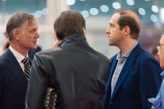MOSCOU, RUSSIE - 23 MAI 2015 : Ministre d'industrie et de commerce de la Fédération de Russie Denis Manturov chez le HeliRussia 2 photo stock