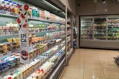 Moscou, Russie - 18 mars 2017 L'intérieur des produits de magasin Azbuka Vkusa dans Zelenograd Photographie stock