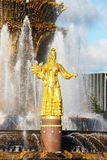 Moscou, Russie - 13 septembre 2016 : Amitié de ` de fontaine de ` de peuples à VDNH Photographie stock