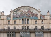 MOSCOU, RUSSIE - SEPTEMBRE 2017 Panneaux de majolique pour la façade du ` de Metropol de ` d'hôtel images stock