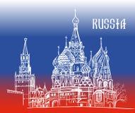 Moscou Russie sur le drapeau Photo stock