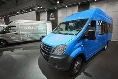 MOSCOU, SEPT, 5, 2017 : Vue sur le mini monospace GAZ d'autobus pour le transport de personnes et de cargaison Exh russe célèbre  Image libre de droits