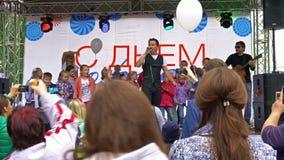 Moscou-septembre, 9 2017 Célébration du jour de jour férié de Moscou dans la rue banque de vidéos
