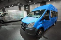 MOSCOU, SETEMBRO, 5, 2017: Vista na mini carrinha GAZ do ônibus para o transporte dos povos e da carga Exh famoso do fabricante d Imagem de Stock Royalty Free