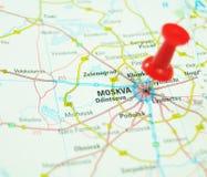 Moscou sur la carte Images stock