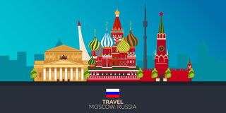 moscou tourisme Ville de déplacement de Moscou d'illustration Conception plate moderne Horizon de Moscou Russie Photo libre de droits