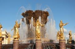 moscou Un fragment de l'amitié de ` de fontaine du ` de peuples chez VDNKh Photo libre de droits