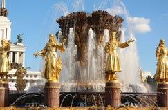 moscou Un fragment de l'amitié de ` de fontaine du ` de peuples chez VDNKh VVC Photographie stock