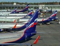 Moscou - une rangée des avions possédés par Aeroflot Photos stock