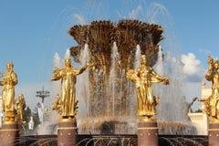 moscou VDNKh Un fragment de l'amitié de ` de fontaine du ` de peuples Photographie stock