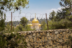 Moscovia Gorny monastery church buildings behind barbed wire, Jerusalem stock images