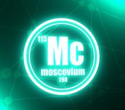 Moscovium chemical element. Sign with atomic number and atomic weight. Chemical element of periodic table. Molecule and communication background. Connected vector illustration