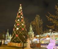 Moscovo, árvore de Natal Fotos de Stock Royalty Free