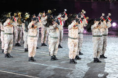 Bersaleri Guglielmo Colombo da orquestra do vento no festival de música militar Imagem de Stock