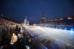 Journalistas, orquestra militar central no festival de música militar Imagem de Stock