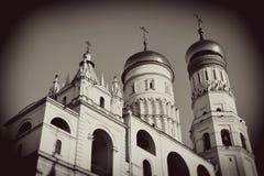 Moscovo Kremlin Foto do sepia do estilo do vintage fotografia de stock