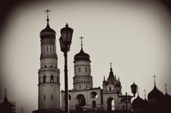 Moscovo Kremlin Foto do sepia do estilo do vintage imagem de stock royalty free