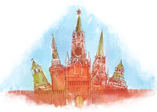 Moscovo Kremlin na aguarela Imagem de Stock