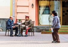 Imitadores de Lenin e de Stalin em Arbat velho Fotografia de Stock Royalty Free