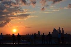 moscow över solnedgång Arkivbild