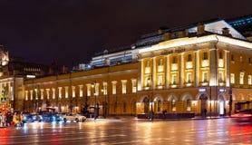 moscow Взгляд ночи театра Maly государства академичного, прохода Tretyakov E стоковые фото