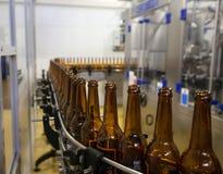moscow Россия 7-ое февраля 2018: Пустые пивные бутылки, на конвейерной ленте Стоковое Изображение