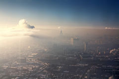 Moscow. City, bird-fly foggy view Royalty Free Stock Photo