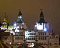 Moscow,. Exhibition centre of arts and crafts Vernisage Izmaylovo (Izmaylovskiy) at night Royalty Free Stock Photography