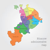 Moscow administrative map. Stock Photo