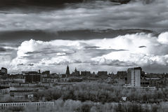 Moscow aerial infrared panorama at stormy weather Stock Photos