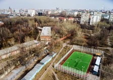 Moscow aerial tilt-shift panorama, small football stadium Royalty Free Stock Photo