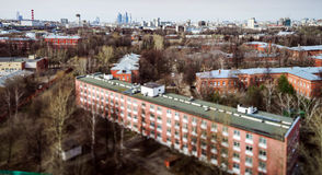 Moscow aerial tilt-shift panorama at spring time Stock Photo
