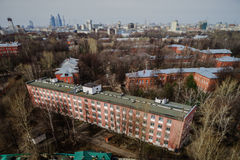 Moscow aerial tilt-shift panorama at spring time Royalty Free Stock Photo