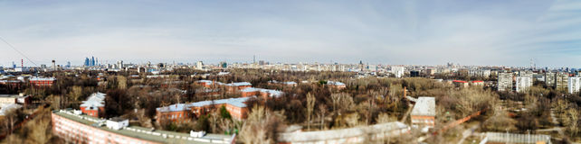 Moscow aerial tilt-shift panorama at spring time Royalty Free Stock Images