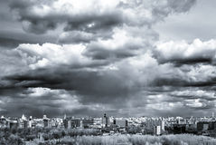 Moscow aerial wide panorama: City, Stalin hightowers, skyscraper Royalty Free Stock Photos