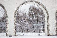 moscow akwedukty Łuk nad rzecznym Yauza Fotografia Royalty Free