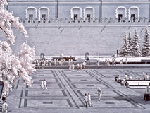 Moscow. Alexander Garden and Kremlin. Infrared photo Royalty Free Stock Photos