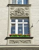 Moscow, Russia, August, 12, 2018. Moscow, apartment house 19/28 at the intersection of Podsosensky and Lyalin lanes. 1910 year of. Moscow, apartment house 19/28 royalty free stock photos