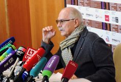 Film director Nikita Mikhalkov at press-conference. MOSCOW - APRIL 19, 2018: Film director, actor and president of Moscow International Film Festival Nikita Royalty Free Stock Images