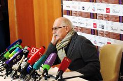 Film director Nikita Mikhalkov at press-conference. MOSCOW - APRIL 19, 2018: Film director, actor and president of Moscow International Film Festival Nikita Stock Photo