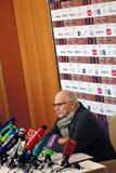Film director Nikita Mikhalkov at press-conference. MOSCOW - APRIL 19, 2018: Film director, actor and president of Moscow International Film Festival Nikita Royalty Free Stock Photo