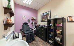 MOSCOW - APRIL 2015: Interior of luxury beauty salon Philosofiya Stilya. The beautician room. MOSCOW - APRIL 2015: Interior of luxury beauty salon Philosofiya Stock Photo