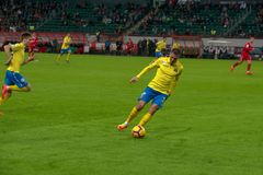 Midfielder Alexey Ionov 11 on the soccer game