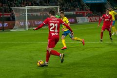 Midfielder Khvicha Kvaratskhely 21 on the soccer game