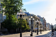 Moscow,Arbat street. In the early morning Royalty Free Stock Photos
