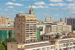 Moscow architectural schizophrenia. Moscow view from a balcony Royalty Free Stock Image