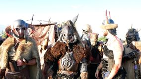 Moscow Area, RUSSIA - August 22, 2018: Cosplayers showing Warhammer armored warrior character costume for role-playing. Moscow Area, RUSSIA - August 22, 2018 stock footage