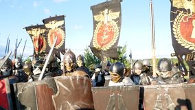 Moscow Area, RUSSIA - August 22, 2018: Cosplayers showing Warhammer armored warrior character costume for role-playing stock video
