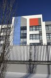 Colorful facade of a modern school building. Moscow area, Russia - November 26, 2016: Building of secondary school in residential complex `Peredelkino Blizhnee stock photography