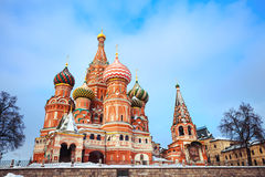 Moscow Attraction - Saint Basil's Cathedral on Red Square at winter Royalty Free Stock Image